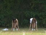 Juicy schoolgirls enjoy a kinky exhibitionism lesson picture 24