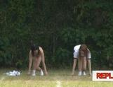 Juicy schoolgirls enjoy a kinky exhibitionism lesson picture 25