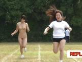 Juicy schoolgirls enjoy a kinky exhibitionism lesson picture 29
