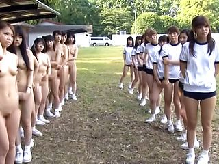 Naughty Japanese teens are into outdoor naked follies