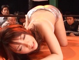 Chick with tiny tits Maki Mizusawa rubs her pussy publicly picture 1