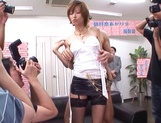 Skinny hottie in fishnet stockings Akari Asahina gets fingered picture 14