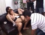 Skinny hottie in fishnet stockings Akari Asahina gets fingered