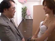 Skinny hottie in fishnet stockings Akari Asahina gets fingered