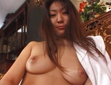 Horny busty lady, Biko Koike shows her hairy pussy and enjoys titfuck picture 11