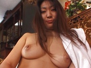 Horny busty lady, Biko Koike shows her hairy pussy and enjoys titfuck