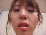 Peachy tits amateur babe, Kanako Enoki blows cock; and gets fucked in POV picture 13