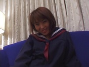 Japanese schoolgirl, Kanako Enoki plays with vibrator on cam