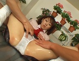 Naughty Asian schoolgirl is oiled in nasty threesome