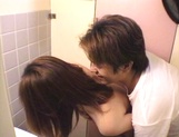 Sexy teen, Moe Otake, with hairy pussy and small tits rides cock in a toilet picture 72
