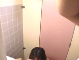 Sexy teen, Moe Otake, with hairy pussy and small tits rides cock in a toilet picture 77