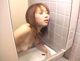 Sexy teen, Moe Otake, with hairy pussy and small tits rides cock in a toilet picture 82
