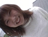 Mischievous Japnese teen, Riho Mishima, gives a blowjob in a toilet on pov picture 12
