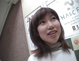 Mischievous Japnese teen, Riho Mishima, gives a blowjob in a toilet on pov picture 18