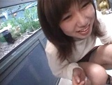 Mischievous Japnese teen, Riho Mishima, gives a blowjob in a toilet on pov picture 40