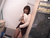 Mischievous Japnese teen, Riho Mishima, gives a blowjob in a toilet on pov picture 45