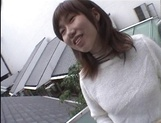 Mischievous Japnese teen, Riho Mishima, gives a blowjob in a toilet on pov picture 4