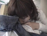 Mischievous Japnese teen, Riho Mishima, gives a blowjob in a toilet on pov picture 52