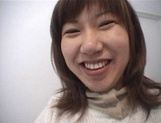 Mischievous Japnese teen, Riho Mishima, gives a blowjob in a toilet on pov picture 55