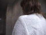 Mischievous Japnese teen, Riho Mishima, gives a blowjob in a toilet on pov picture 56