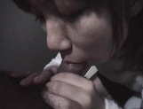 Mischievous Japnese teen, Riho Mishima, gives a blowjob in a toilet on pov picture 63