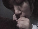Mischievous Japnese teen, Riho Mishima, gives a blowjob in a toilet on pov picture 71