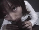 Mischievous Japnese teen, Riho Mishima, gives a blowjob in a toilet on pov picture 74