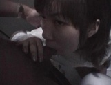 Mischievous Japnese teen, Riho Mishima, gives a blowjob in a toilet on pov picture 78
