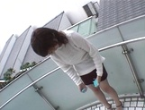 Mischievous Japnese teen, Riho Mishima, gives a blowjob in a toilet on pov picture 8