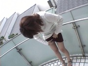 Mischievous Japnese teen, Riho Mishima, gives a blowjob in a toilet on pov