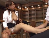 Horny Japanese teacher gives head and provides a hot hand job picture 14