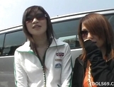 Horny Japanese Models Play With Cock In The Car picture 12