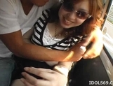 Horny Japanese Models Play With Cock In The Car picture 14