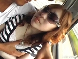 Horny Japanese Models Play With Cock In The Car picture 15