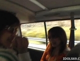 Horny Japanese Models Play With Cock In The Car