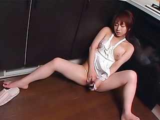Karen Ichinose, horny Asian housewife enjoys solo pussy play
