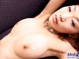 Japanese AV Model Enjoys Getting A Load Of Cum On Her Tits