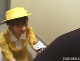 Japanese AV Model Gives A Blowjob In An Elevator picture 13