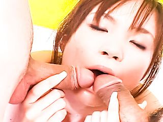 Breathtaking young babe Mayu Yamaguchi sucks two lucky guys