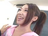 Cute schoolgirl Koyuki Matsumoto gets dildoed and sucks two dicks
