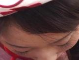 Cute Asian nurse, Koyuki Matsumoto gives footjob, licks ass and sucks dick picture 14