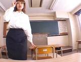 Teacher Aya Sakurai with glasses shaves and sucks her student