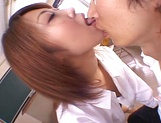 Teacher Aya Sakurai with glasses shaves and sucks her student