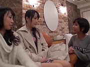 Arousing Minato Riku, horny Asian teen in all girl threesome