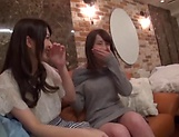 Enticing Asian teen, Minato Riku in raunchy lesbian threesome picture 11