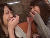 Enticing Asian teen, Minato Riku in raunchy lesbian threesome picture 12