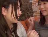 Enticing Asian teen, Minato Riku in raunchy lesbian threesome picture 13