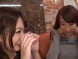 Enticing Asian teen, Minato Riku in raunchy lesbian threesome picture 15