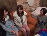 Enticing Asian teen, Minato Riku in raunchy lesbian threesome picture 4
