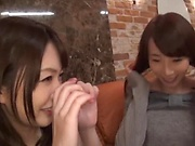 Minato Riku, enticing Asian teen in lesbian group action